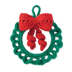 Crochet this adorable wreath using Impeccable and Red Heart® Shimmer™.