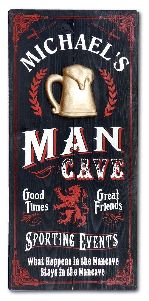 Man Cave Beer Mug Vintage Plank Sign Personalized by KandKSales