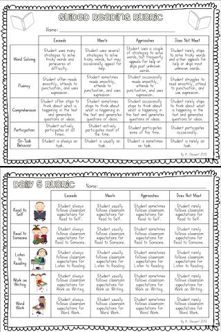 Guided Reading and Daily 5 Rubrics - FREEBIE