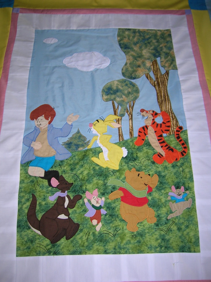 Appliqued Winnie-the-Pooh Quilt...Made by me