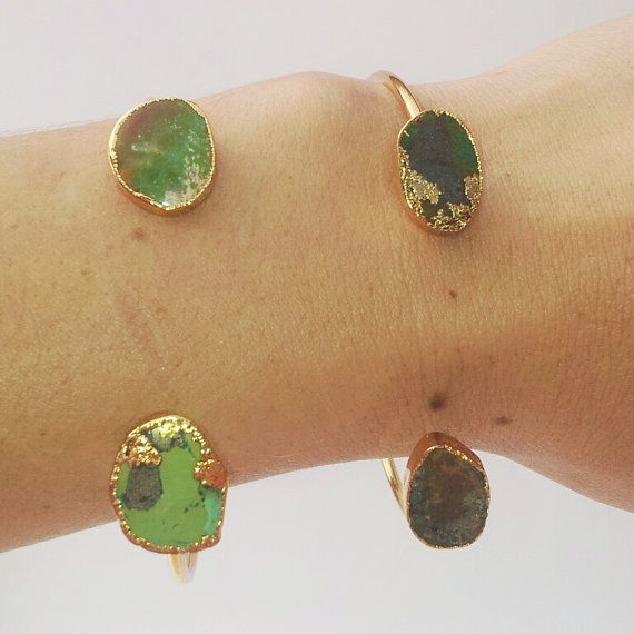 Green & Gold Bangles Turquoise 14k Gold by FeathermoonByronBay