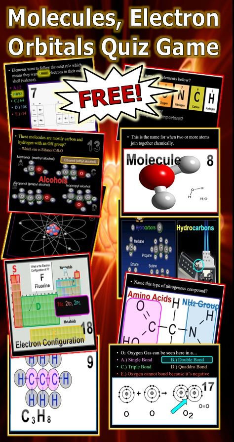 This is a FREE 150 Slide PowerPoint Quiz Game about Atomic Theory, Atomic Symbols, #s, Valence Electrons, Octet Rule, SPONCH Atoms, Molecules, Hydrocarbons (Structure), Alcohols (Structure), Proteins (Structure). Answers and worksheet are provided. -Enjoy! Science form Murf LLC