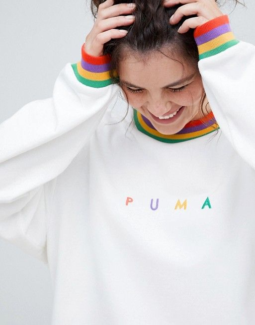 8e9c241a291c Puma Plus Exclusive Organic Cotton Rainbow Sweatshirt In White in ...