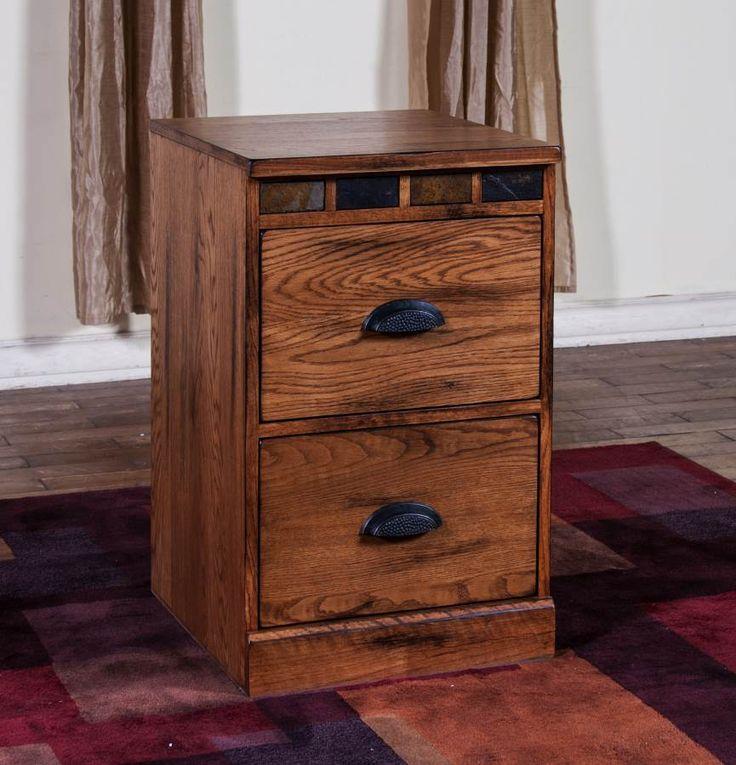 Sedona Rustic Oak Wood 2 Drawers File Cabinet 2863RO F