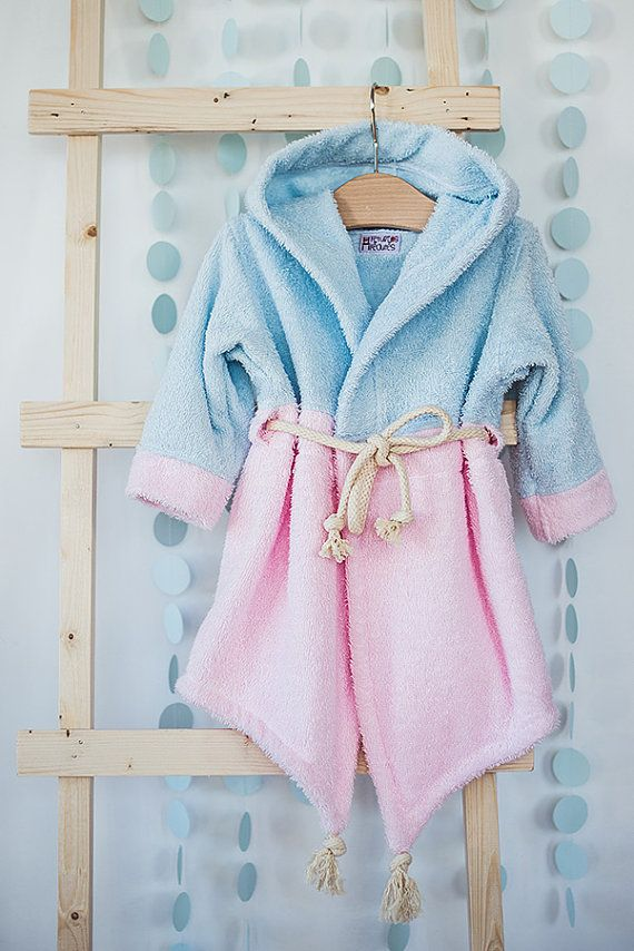 Pool beach cover up - baby girl robe – pastel pink girls towel - Aladdin
