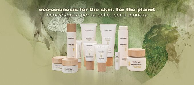 Sacred Nature range: eco-cosmesi for the skin. For the planet.   After prolonged studies led by a strong commitment to the environment, [ comfort zone ] research laboratories present the first face and body organic and natural spa skin care able to provide advanced care and exceptional pleasure for the senses.