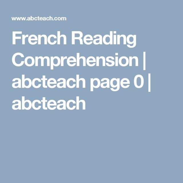 French Reading Comprehension | abcteach page 0 | abcteach