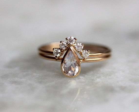 14K Moonstone Pear Engagement Ring Set, Bridal Set, Diamond Chevron Band / http://www.himisspuff.com/engagement-rings-wedding-rings/13/