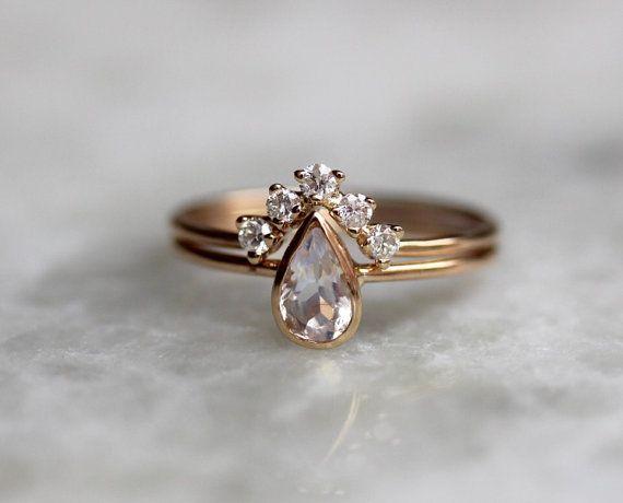 14K Moonstone Pear Engagement Ring Set, Bridal Set, Diamond Chevron Band / http://www.himisspuff.com/engagement-rings-wedding-rings/13/