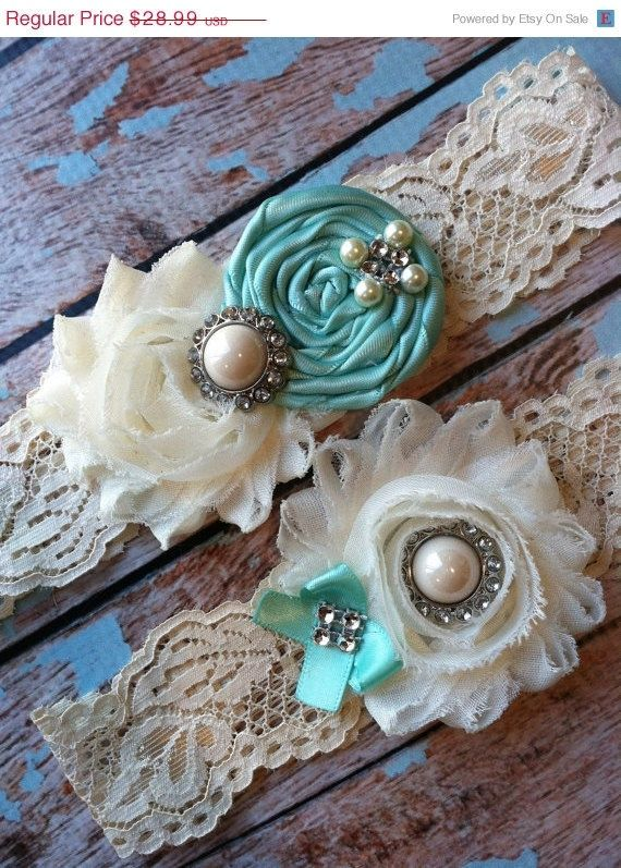 Sale/ TIFFANy Blue / wedding garter / something blue garter / vintage inspired wedding garter $24,99