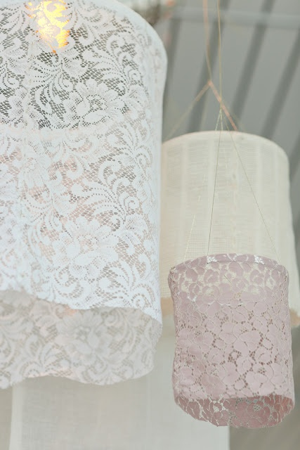 Lace lanterns--these would add some softness to my little balcony.