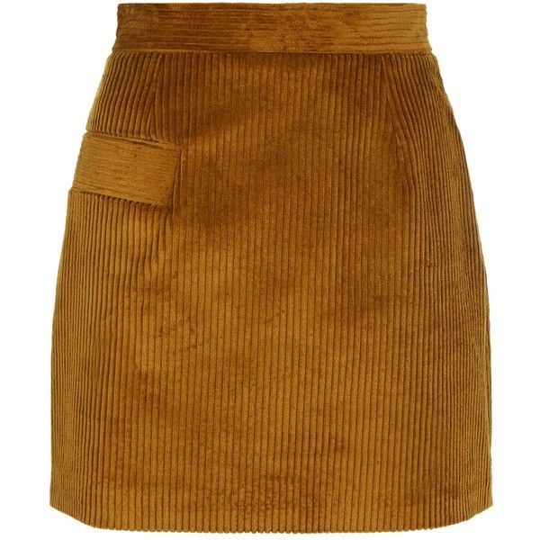 Sandro Ribbed Velvet Skirt (675 BRL) ❤ liked on Polyvore featuring skirts, sandro, brown velvet skirt, sandro skirt, brown skirt and ribbed skirt