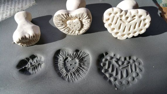 Valentine Hearts & Kissy Lips Clay Stamps Set Fired Clay