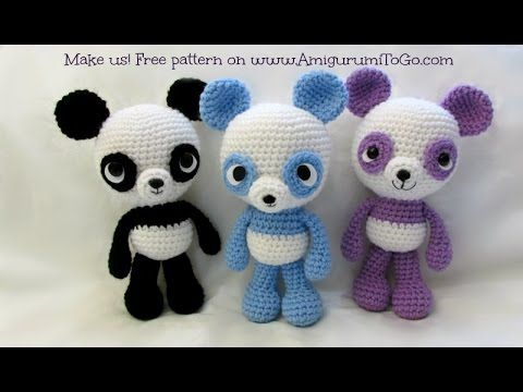 How to attach limbs, eyes & ears to amigurumi. Very well done. Little Bigfoot Panda Tutorial