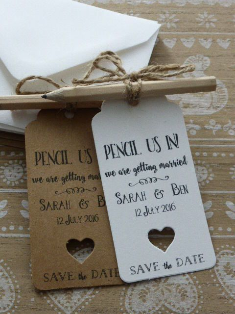 """An alternative take on the traditional save the date, we love the play on words used here. Complete with twine around the pencil, this is a wedding that the guests will be """"inking"""" into their calendars."""
