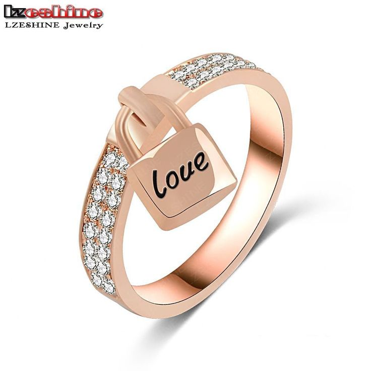 LZESHINE Wedding Bands Finger Ring Rose Gold Plated Inlay Cubic Zirconia Lock Ring with Love Letter Ring /Anillos CRI0145-A