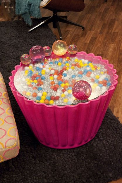 Cupcake side table - iCarly Bedroom - $750.  Does anyone know what they put inside of the cupcake?:)