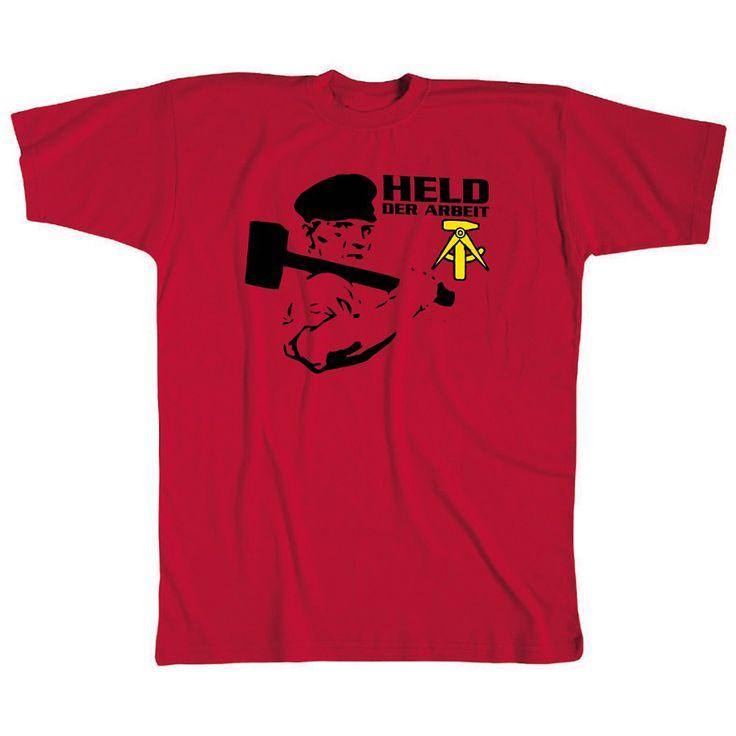 T-Shirt, rot, mit Aufdruck - Held der Arbeit
