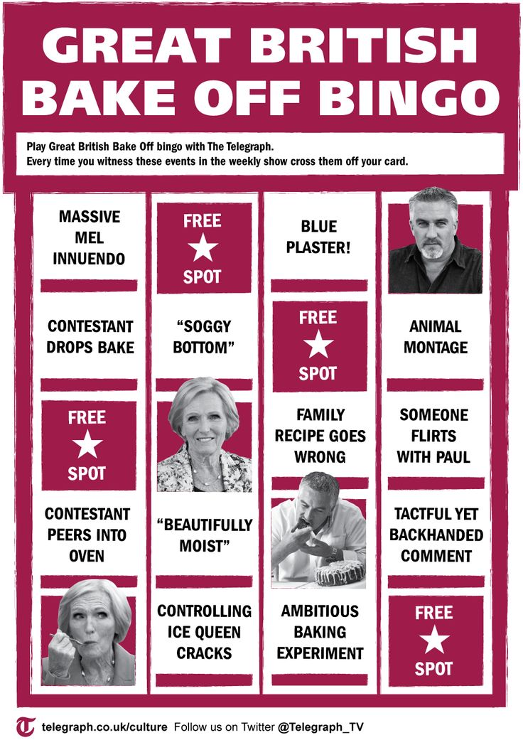 Great British Bake Off Bingo omg :p