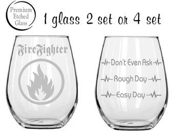 firefighter glass,Good day Bad day glass,Etched wine glasses,firefighter glass,birthday gifts,etched glasses,stemless wine,Etched gifts by milestoneartworks. Explore more products on http://milestoneartworks.etsy.com