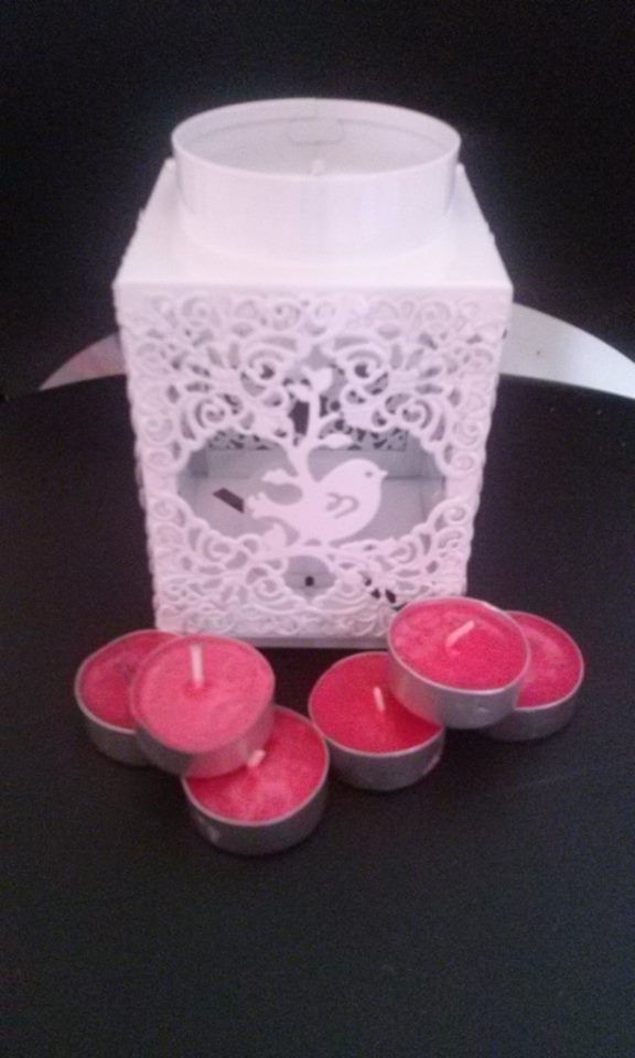 white candle holder + 6 tea light candles of choice $15