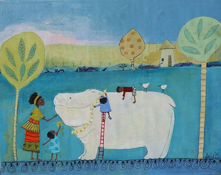"Hippo Appreciation by julia cairns  ~ 11"" x 14"""