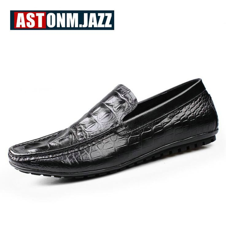 Chaussures Casual Véritable chaussures en cuir Mocassins hommes Slip Lazy Shoes.size 37-45 EreTvO
