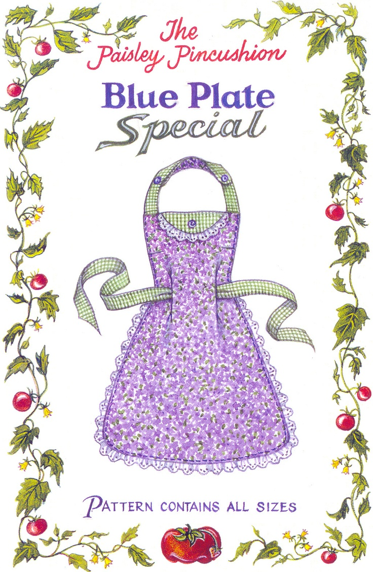 Blue Plate Special tissue paper apron pattern. Multi-size, childs-adult. Double layer, easy and fast.