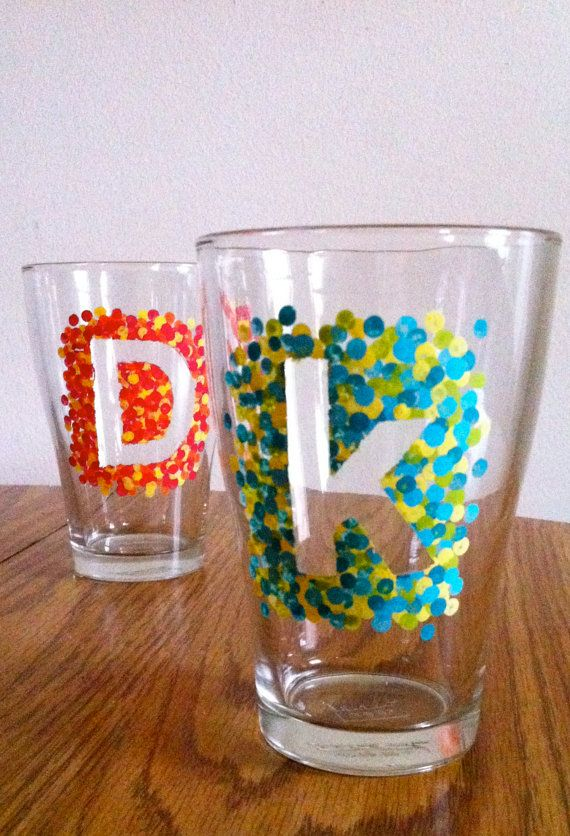 Custom Hand Painted Initial Dot Tumblers, A-Z, UPPERCASE and LOWERCASE available