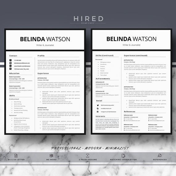 19 best Minimalist Resume \/ CV Templates images on Pinterest - Word Resume Template Mac
