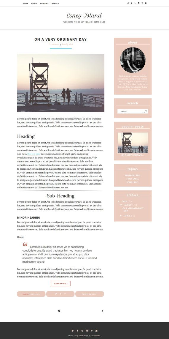 Blogger Responsive Template -- Coney Island  Usual by Usual Habitat on Etsy | A…