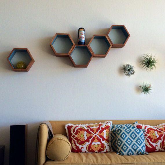 Delightful Honeycomb Cubby Shelves   Wall Shelving   Geometric Hexagon Shelves    Modern Eco Friendly Home Decor   Set Of 3 Custom Medium Shelves