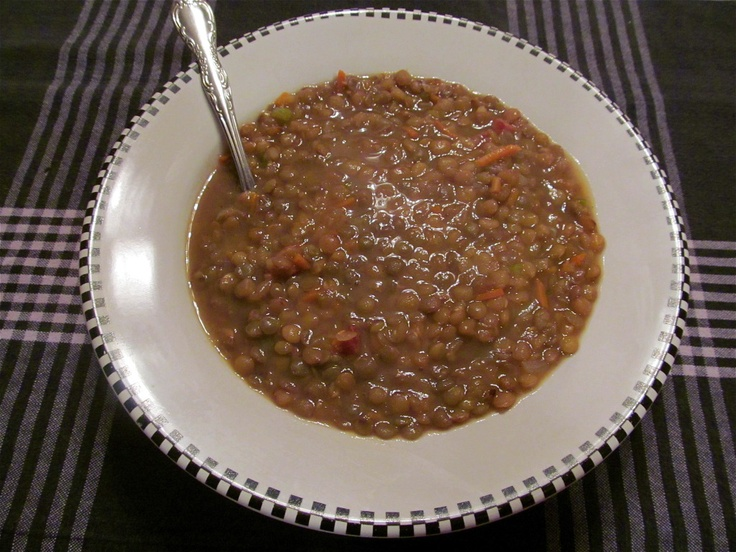 Ham & Lentil soup. Start with some small chopped cuts of Ham steak ...