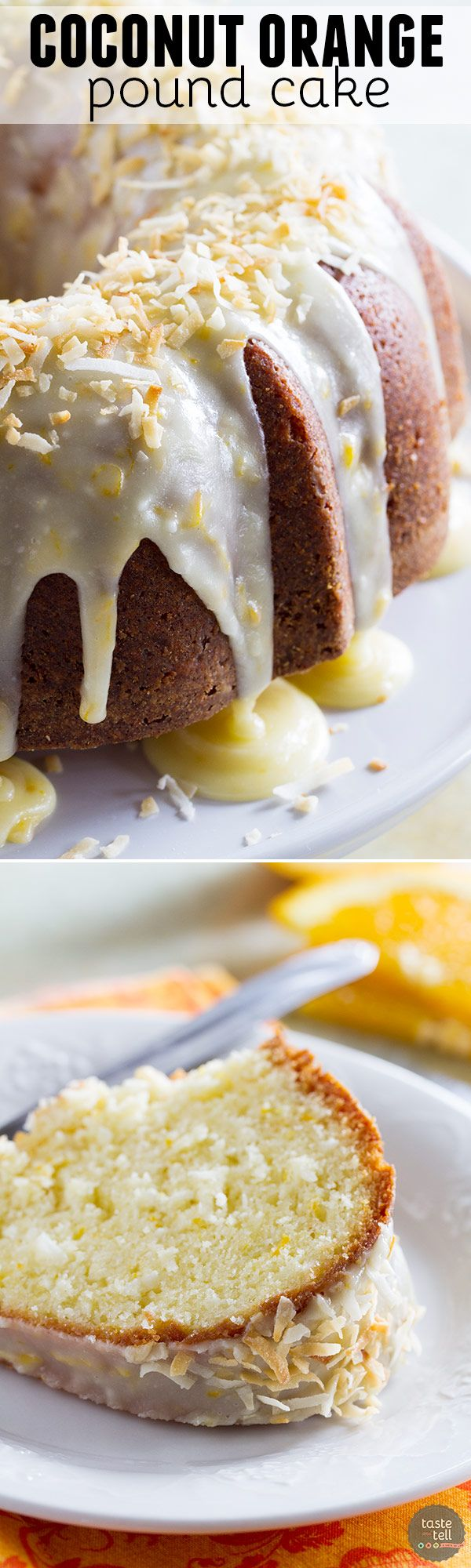 Rich and full of orange and coconut flavors, this Coconut Orange Pound Cake takes a classic recipe and gives it is tropical makeover.: