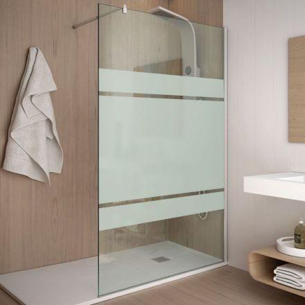 Paroi de douche fixe 120 cm, verre 8 mm, serigraphié, Rimini - 389 €