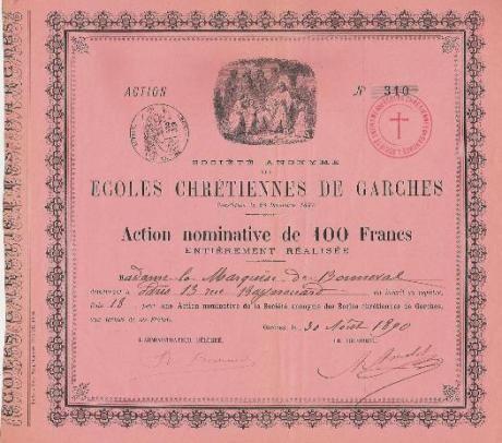 Société des Ecoles Chrétiennes de Garches, Garches, 1890