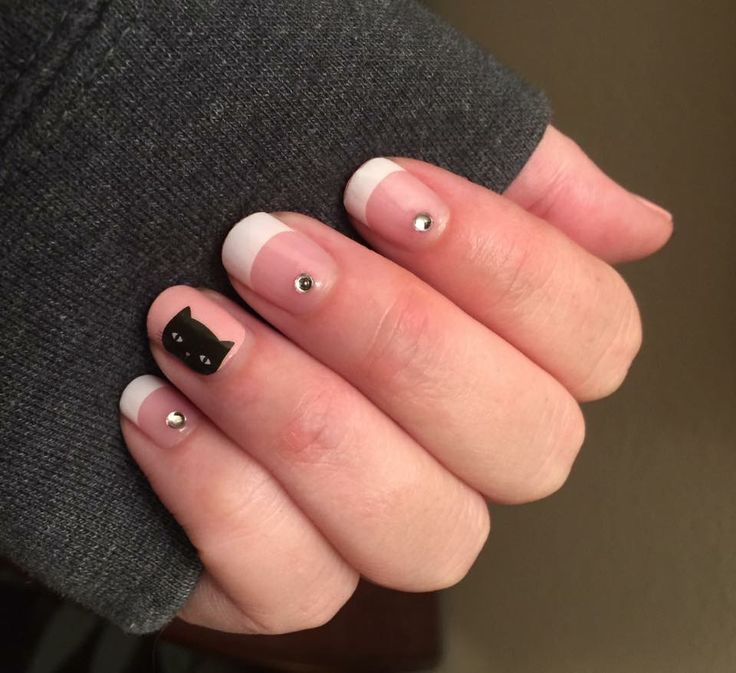 Jamberry. Mixed mani. Whiskers. Cat. French tip