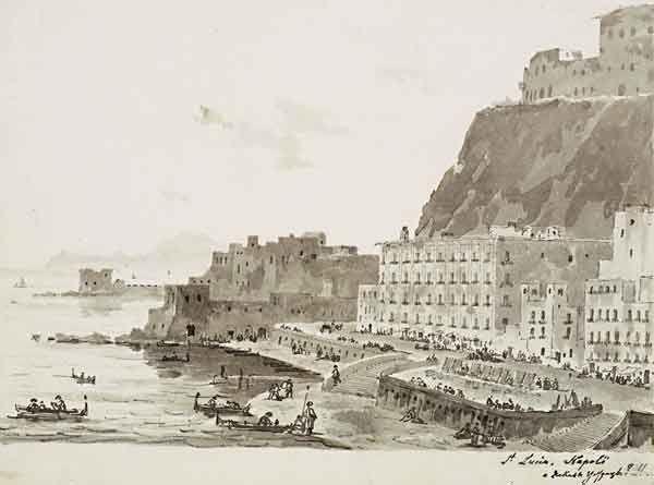 М.Воробьев. Набережная Санта-Лючия  в Неаполе. 1845.  Бумага, тушь, кисть, перо. ГТГ