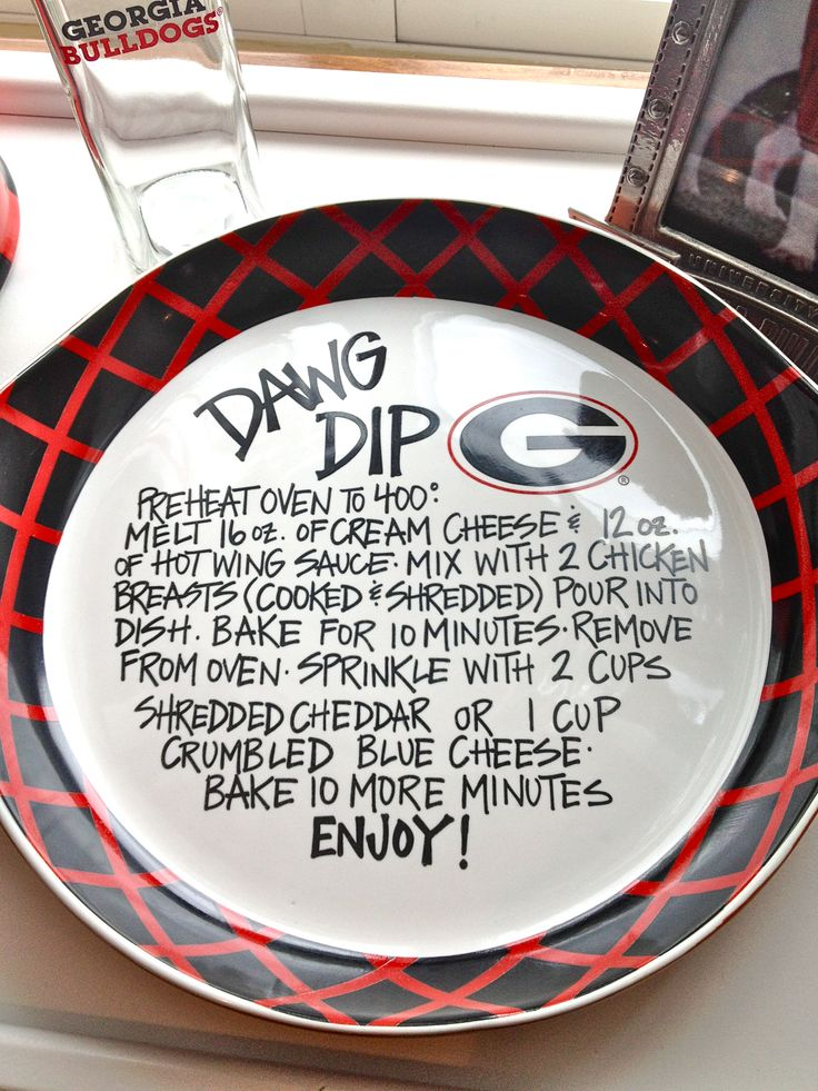 """""""Dawg Dip""""  UGA Plate-- Buy a white plate, sharpie, and bake for a design that lasts!"""