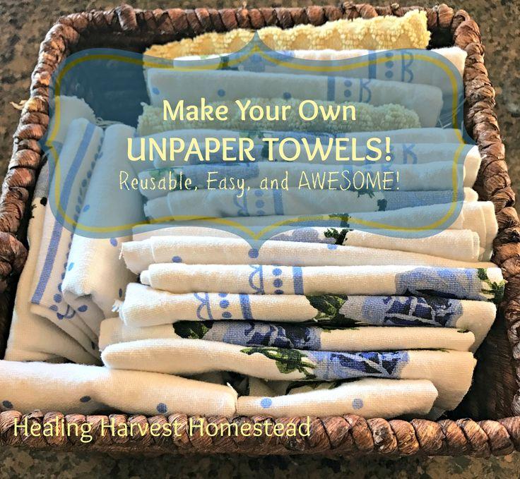 "How to Make EASY Unpaper Towels---Reusable Cloth ""Paper"" Towels  https://www.healingharvesthomestead.com/home/2017/1/25/how-to-make-easy-unpaper-towels-reusable-cloth-paper-towels  Heidi Villegas"