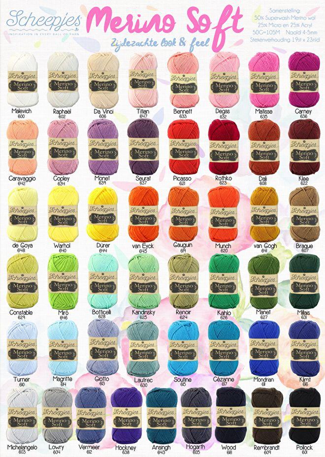 Merino soft 50% wol 20% micro vezel 20% acryl 50gram 105 m loop lengte 19st 23 nld 10x10 een super zacht garen gechikt voor al je mooie werk om zelf te maken of te laten maken nu in 9 kleuren in de webwinkel andere kleuren volgen later. wil je een van de kleuren bestellen vd kaar dat is altijd mogelijk dan duurt het 2 werkdagen langer mits de kleur op voorraad is bij de leverancier Merino soft van Scheepjes is een heerlijk zacht breigaren geeft een regelmatige ...
