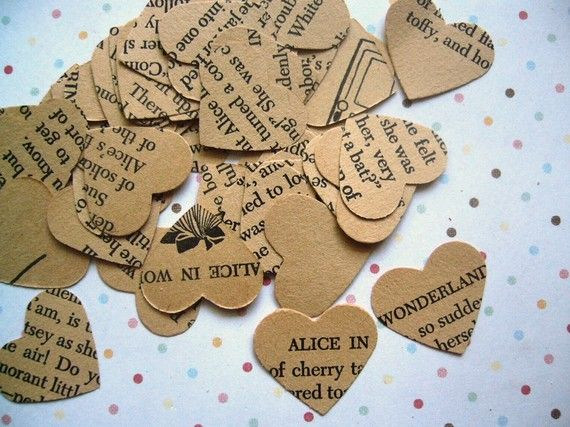 Vintage Alice in Wonderland Heart Confetti for weddings and parties