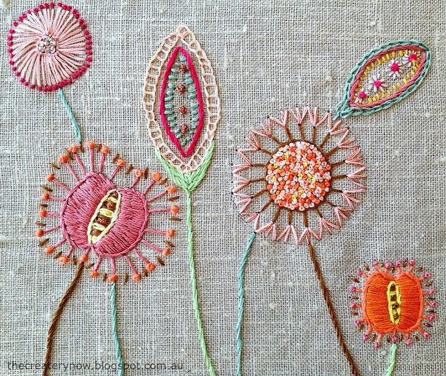 Free-style embroidery on linen by Sarah Andersen