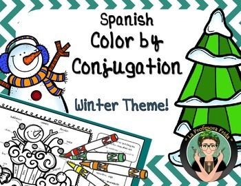 Spanish Lesson, Color by Conjugation, Color by Verb, Winter Fun Stuff for Spanish Teachers!  3 Color By Verb activities, La Profesora Frida, Present Tense, Preterite Tense, Imperfect Tense, Art