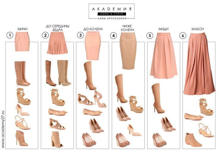 сочетание юбок и обуви