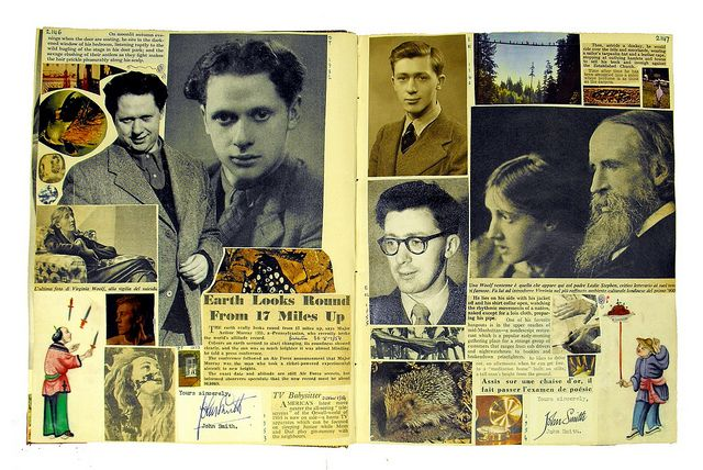 Scrapbook by Edwin Morgan, held at University of Glasgow. Morgan began compiling scrapbooks in the 1930s and continued to add to them until the 1960s. He saw them as combining biographical detail (what he as a poet had noted in living through three turbulent decades), together with cultural commentary (how the social and scientific world had altered during that period) and an aesthetic dimension.
