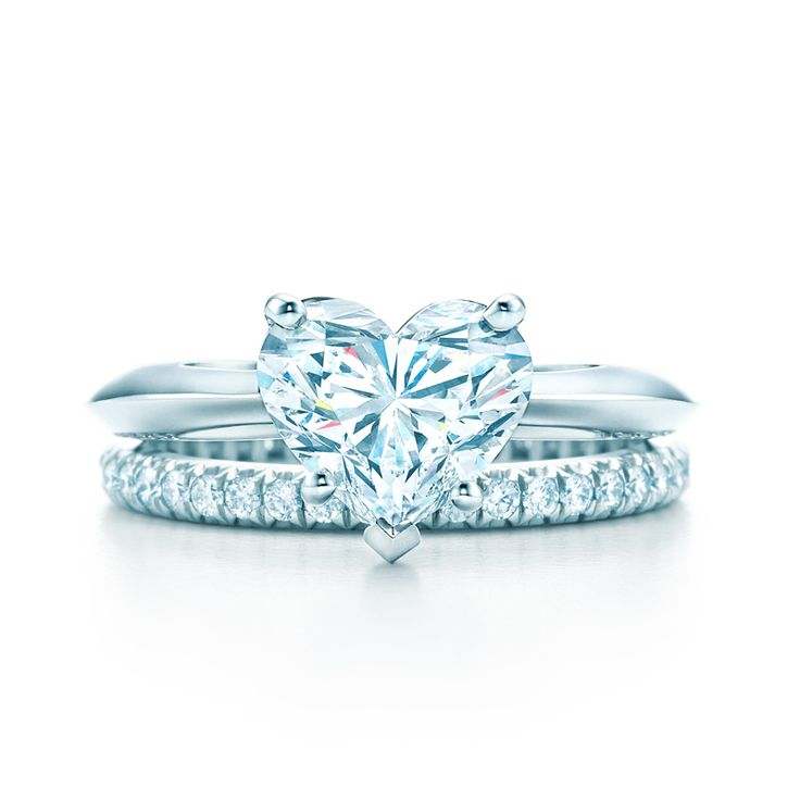 Heart Shape diamond engagement ring in platinum with a Tiffany Soleste® diamond band. #TiffanyPinterest #WeddingBand