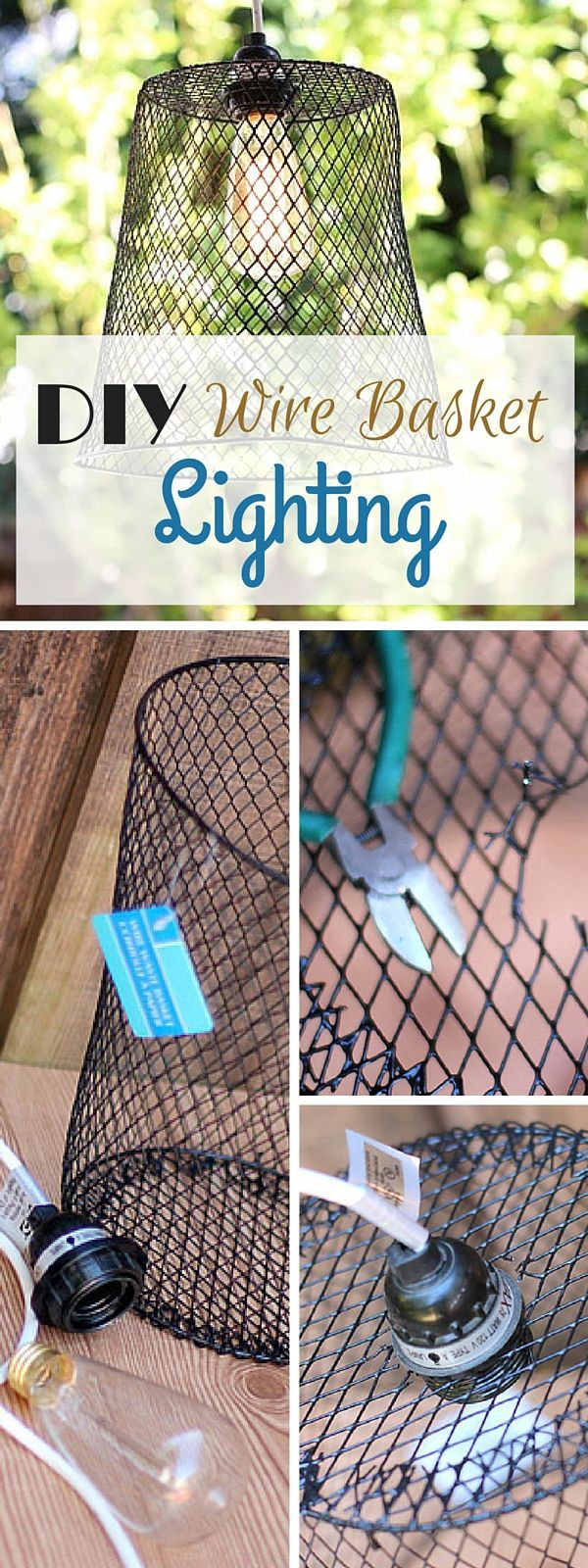 Check out the tutorial: #DIY Wire Basket Lighting #crafts #homedecor