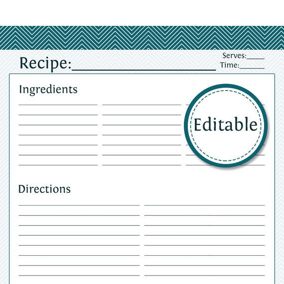 Recipe Card, Full Page - Fillable - Printable PDF - Teal Chevron