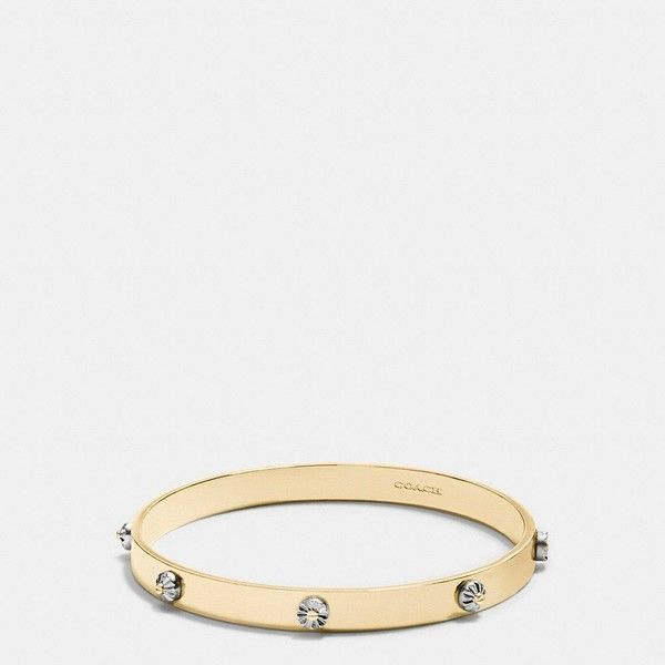 Coach Daisy Rivet Bangle ($125) ❤ liked on Polyvore featuring jewelry, bracelets, stacking bangles, daisy jewelry, bangle jewelry, hinged bangle and coach jewelry